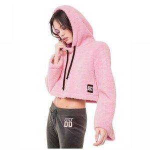 Juicy Couture pink sherpa cropped hooded pullover